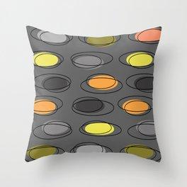 Mid Century Modern Ovals Scribbles Slate Gray Throw Pillow