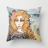 black widow Throw Pillows featuring Widow by Aleksandra Jevtovic