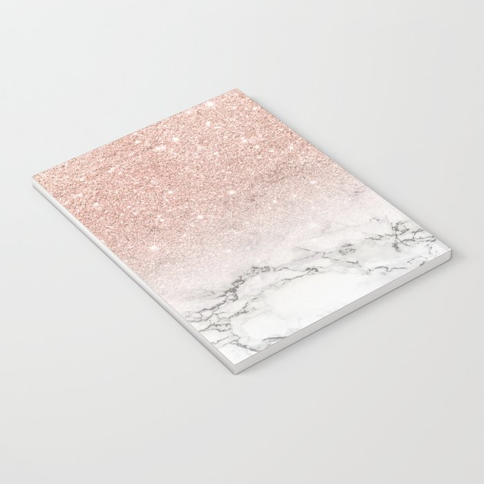 Modern faux rose gold pink glitter ombre white marble Notebook