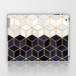 White & Navy Cubes Laptop & iPad Skin