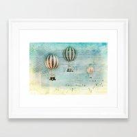 hot air balloons Framed Art Prints featuring drifting _ hot air balloons by Vin Zzep