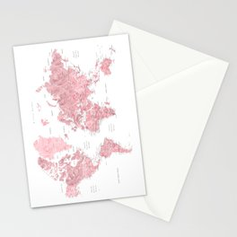 Light pink, muted pink and dusty pink watercolor world map with cities Stationery Cards