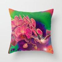 hummingbird Throw Pillows featuring Hummingbird by Ganech joe