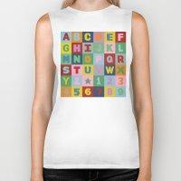 alphabet Biker Tanks featuring Alphabet by Project M