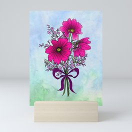 Magenta Cosmos with German Statice Bouquet on Sky Mini Art Print
