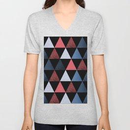 Geometric pattern . red, black, blue, white triangles. Unisex V-Neck