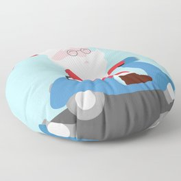 Santa Claus coming to you on his Scooter Floor Pillow