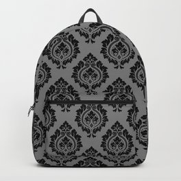 Decorative Damask Pattern Black on Gray Backpack