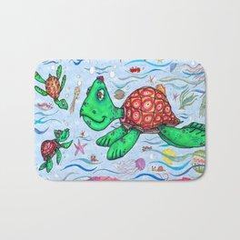 Sea Turtles and their diet Bath Mat