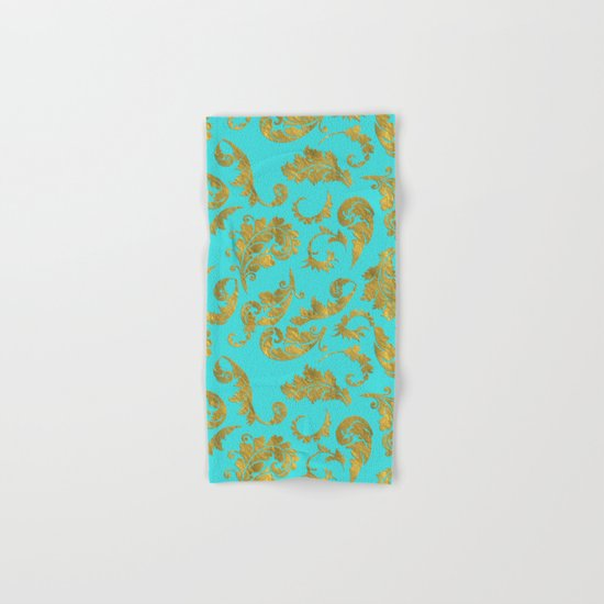 Queenlike on aqua - Gold glitter ornaments on aqua backround- pattern Hand & Bath Towel