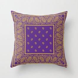Purple and Yellow Bandana Throw Pillow