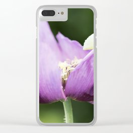 Hungarian Blue Bread Seed Poppy Opening Clear iPhone Case