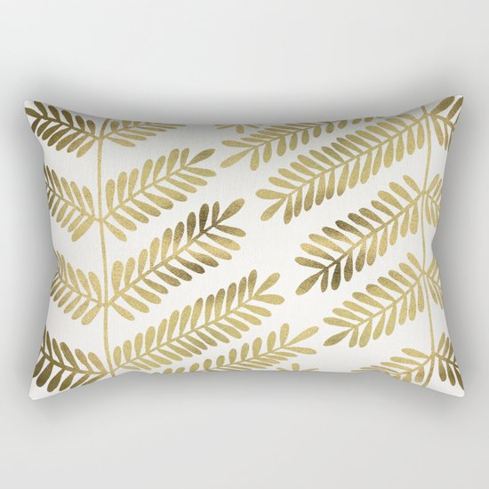 Gold Leaflets Rectangular Pillow