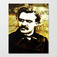 nietzsche Canvas Prints featuring Nietzsche by Katherine Barnett