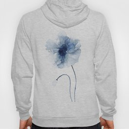 Blue Watercolor Poppies #2 Hoody