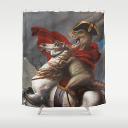 T. Rex Crossing the Alps Shower Curtain