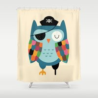 captain silva Shower Curtains featuring Captain Whooo by Andy Westface