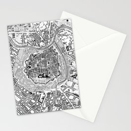 Vintage Map of Vienna Austria (1833) BW Stationery Cards