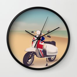 Union Jack Scooter Travel poster, Wall Clock