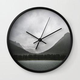 Montana Mountains   Lake Reflections Nature Photography   Landscape Wall Clock