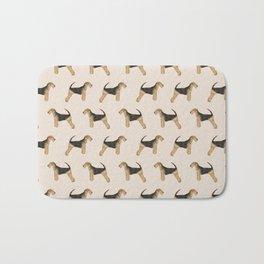 Airedale Terrier pattern minimal pet portrait dog gifts dog breeds dog lover Bath Mat