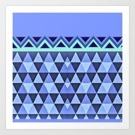 Blue Triangle Pattern Art Print