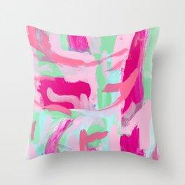 Kabuki Magic - mint green pink abstract modern Throw Pillow