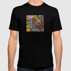 Flowers MEDIUM Black Mens Fitted Tee