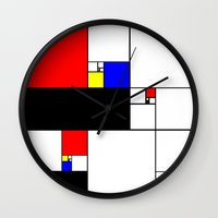 fibonacci Wall Clocks featuring Neo-Plastic-Fibonacci-1 by AMO Design