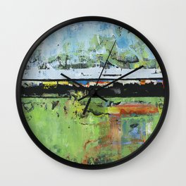 Salvation Green Abstract Contemporary Artwork Painting Wall Clock