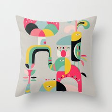 Jungle of elephants Throw Pillow