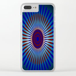 Mandala Sunrise in Maroon and Blue Clear iPhone Case