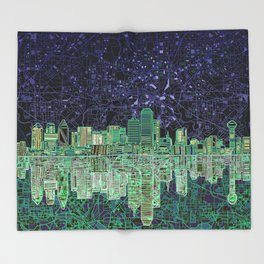 Dallas city skyline Throw Blanket
