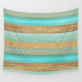Turquoise Brown Faux Gold Glitter Stripes Pattern Wall Tapestry