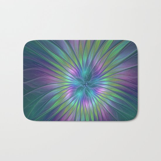Colorful and luminous Fantasy Flower, Abstract Fractal Art Bath Mat