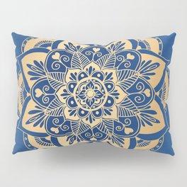 Blue and Gold Flower Mandala Pillow Sham
