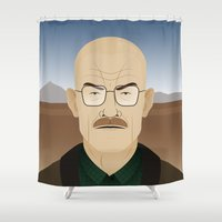 walter white Shower Curtains featuring Walter White by Rob Barrett — Nice Hot Cuppa