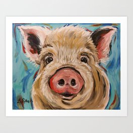 Pig Painting, Colorful Pig Art Print