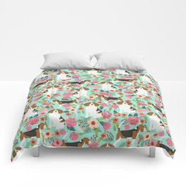Beagle floral pattern dog breed gifts must have beagles florals pupper Comforters