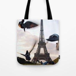 Paris Eiffel tower and flight of birds Tote Bag