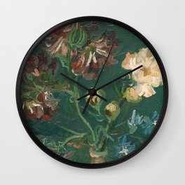 Peonies and Blue Delphiniums by Vincent van Gogh Wall Clock