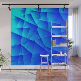 Bright sea pattern of heavenly and blue triangles and irregularly shaped lines. Wall Mural