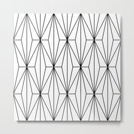 Black White Geometric Pattern Illustration Metal Print