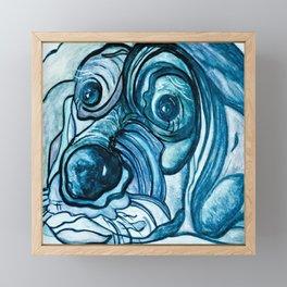 Blue Tick Hound in Denim Tones Framed Mini Art Print