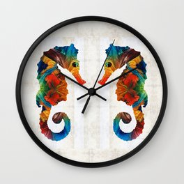 Colorful Seahorse Art by Sharon Cummings Wall Clock
