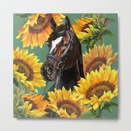 Horse with Sunflowers Metal Print