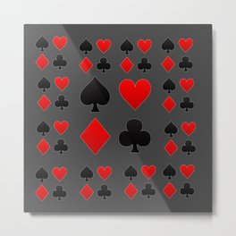 RED & BLACK PLAYING CARD  ART ON CHARCOAL GREY Metal Print