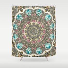 Incandescent Fractal Mandala Shower Curtain