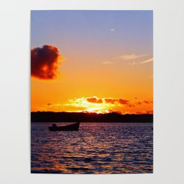 Anchored to Buoy at Dusk Poster