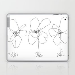 Although It Was Easy When We Were Babies no.0 - black and white line art minimal flower illustration Laptop & iPad Skin